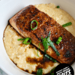 Blackened Salmon & Quick Cheddar Grits