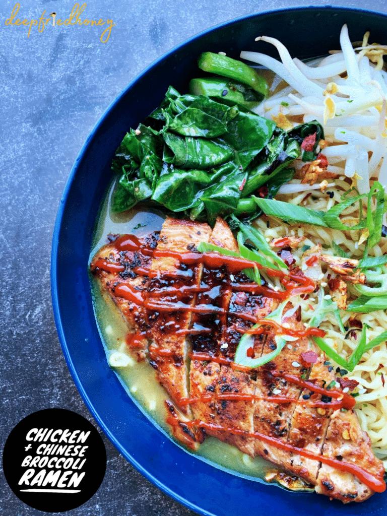 chicken and chinese broccoli ramen