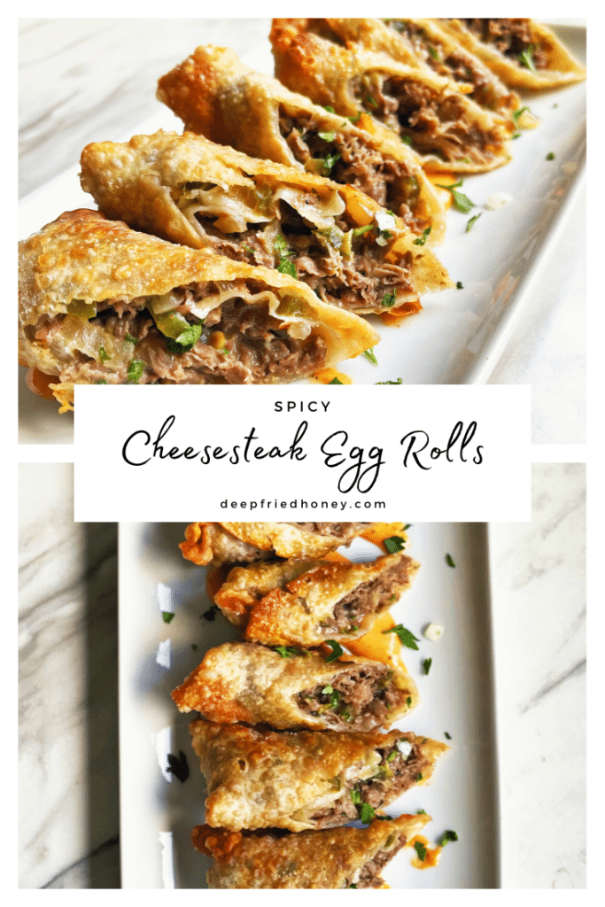 spicy cheesesteak egg rolls