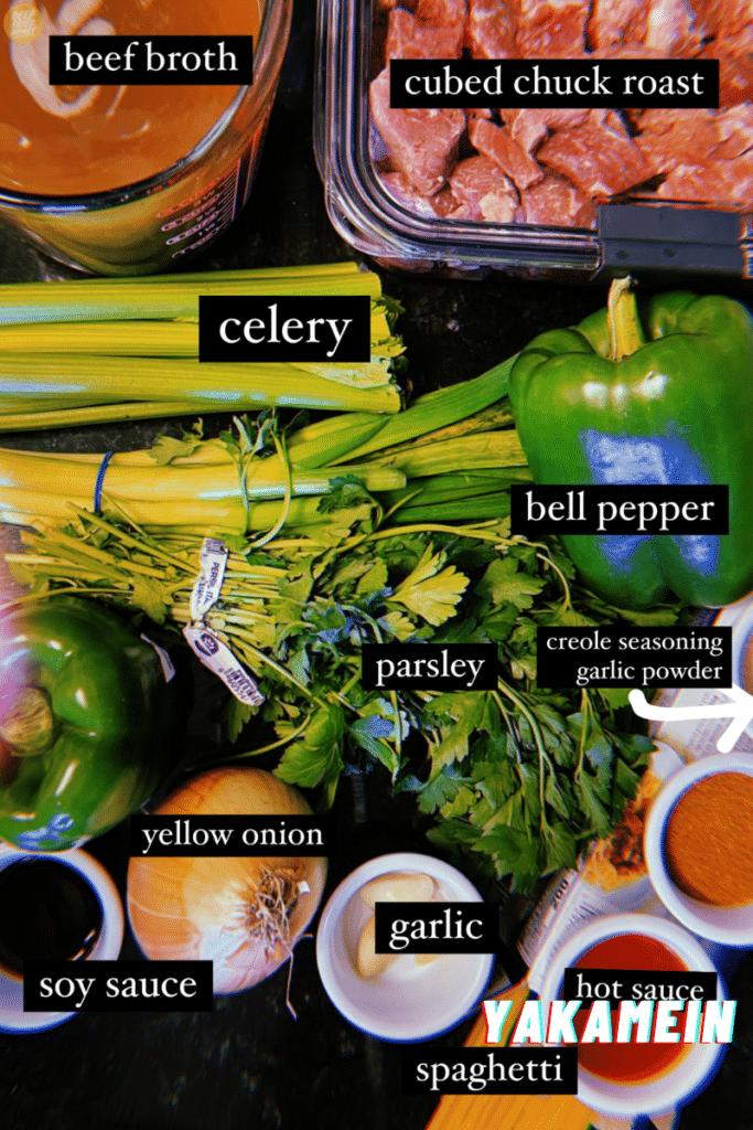 Yakamein ingredients
