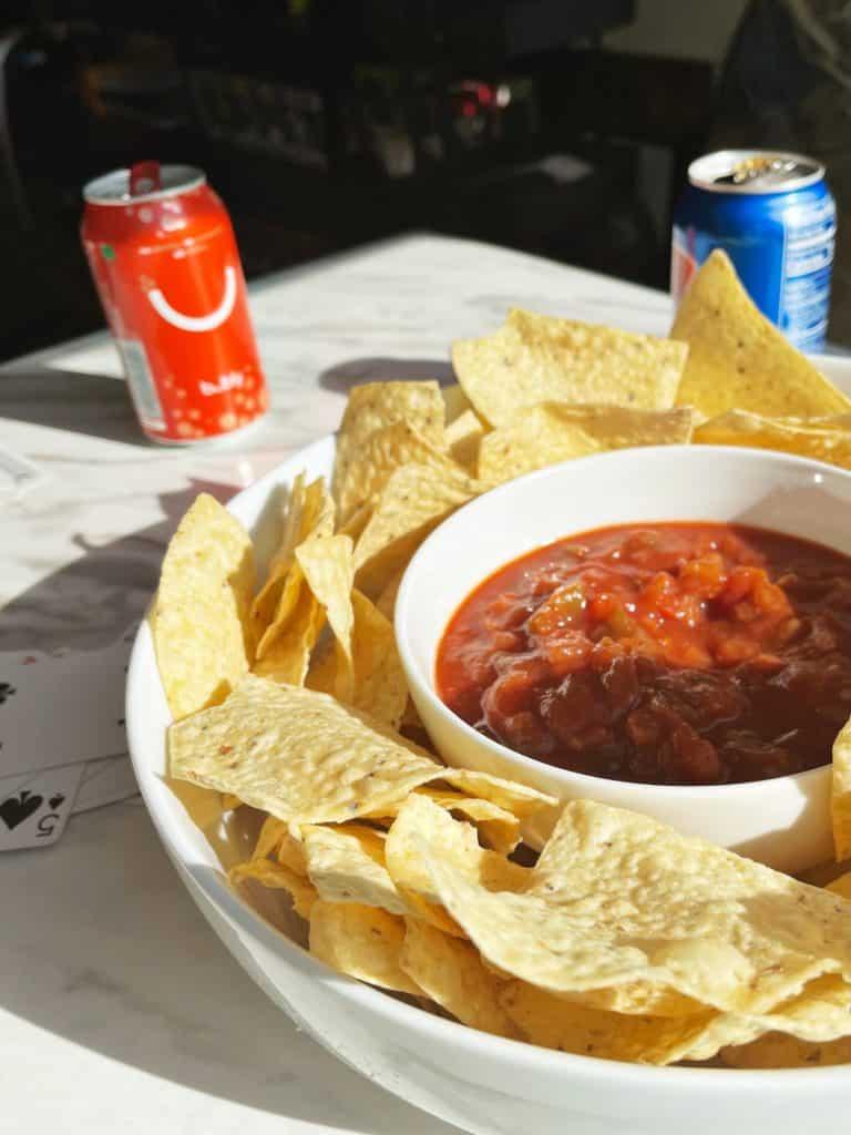 tostitos, salsa, sodas