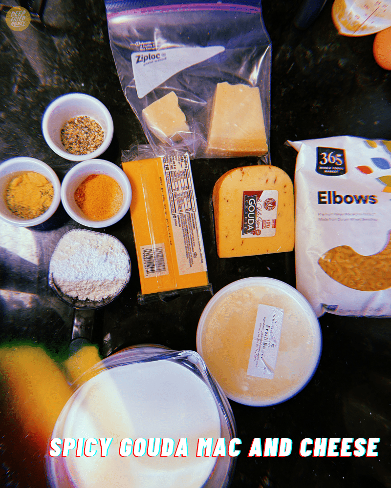 Spicy Gouda Mac and Cheese ingredients